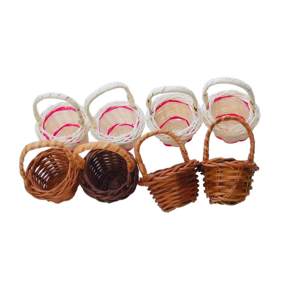 Brown and White Hands Craft Tiny Baskets 8 Pcs of Set Miniature-Tiny Baskets Mini Fern Baskets Miniature Fairy Garden Baskets Dollhouse Supply Decor Wicker Small Baskets Small Country Baskets