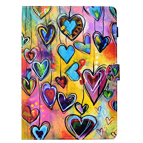iPad 9.7 Case, Candy-Cases(TM) PU Leather Case Smart Stand with [Pencil Holder] Auto Wake/Sleep Cover Wallet Shell for Apple iPad 9.7 Inch 2018/2017/ iPad Air 2/ iPad Air (Colorful Love Heart)