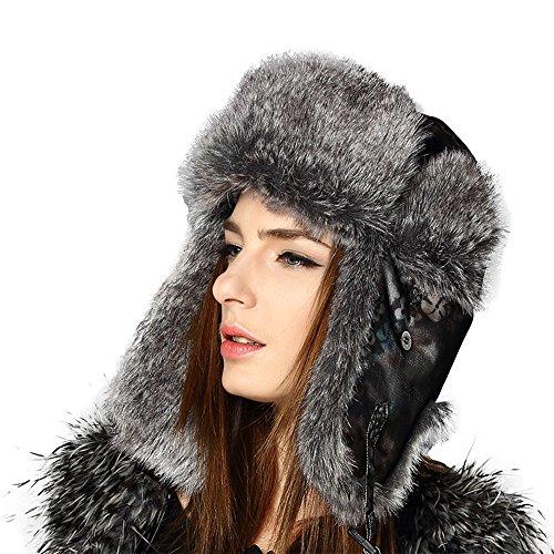 Kenmont Women Lady Winter Warm Ski Outdoor Faux Fur Aviator Trapper Hat Bomber Cap