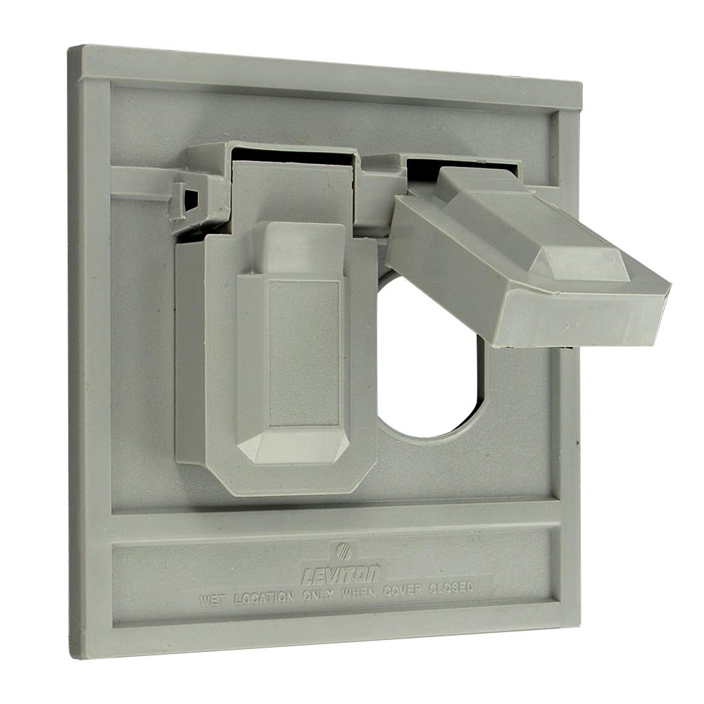 Leviton 4986-GY 1-Gang Duplex Device Wallplate Cover, Oversize, Weather-Resistant, Thermoplastic, Device Mount, Horizontal, Gray by Leviton