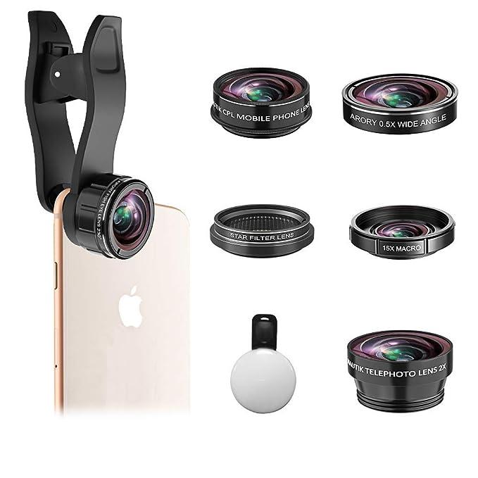688c26ad057b56 Amazon.com: Phone Camera Lens, ARORY 7 in 1 Clip-On Lens Kit, 230 ...
