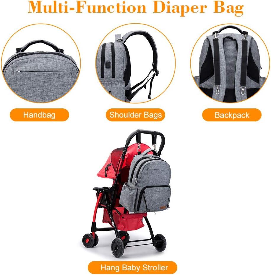 Grand sac /à dos pour maman Papa sac /à dos /étanche avec 2 sangles de poussette et port USB