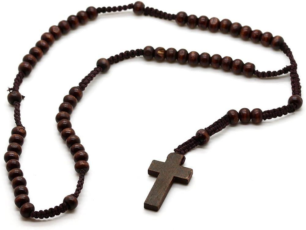 tumundo Rosario de Perlas Madera con Crucifijo 55 cm Marrón Collar de Hombres Colgante Cruz Cadena