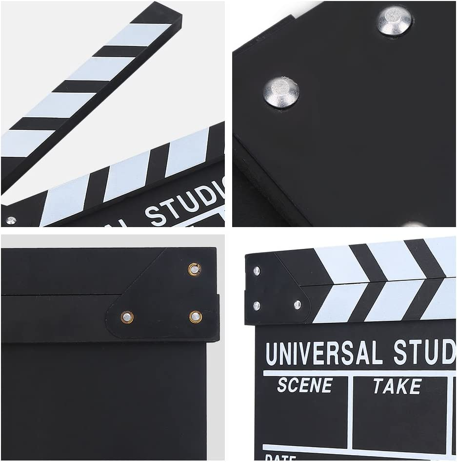 Wooden TV Movie Clapper Board Wood Handmade Director Clapperboard Film Cut Prop for Shoot Props//Advertisement//Decoration//Cosplay//Background