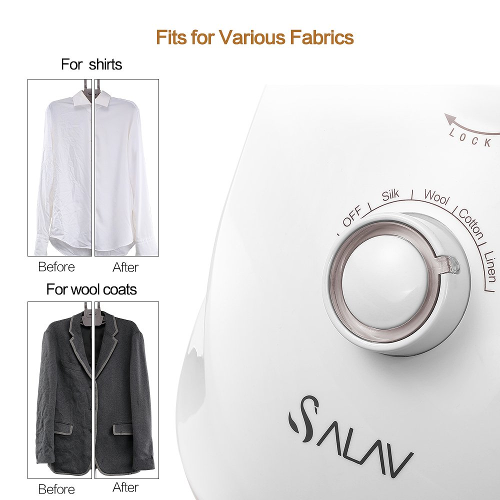 SALAV Clothes Steamer with 360 Degree Swivel Hanger, High Efficiency Metal Steam Panel, 4 Steam Settings, Free Limescale Removers, 1.5L Big Water Tank 1500W GS24-BJ Upgraded Eddition by SALAV (Image #2)