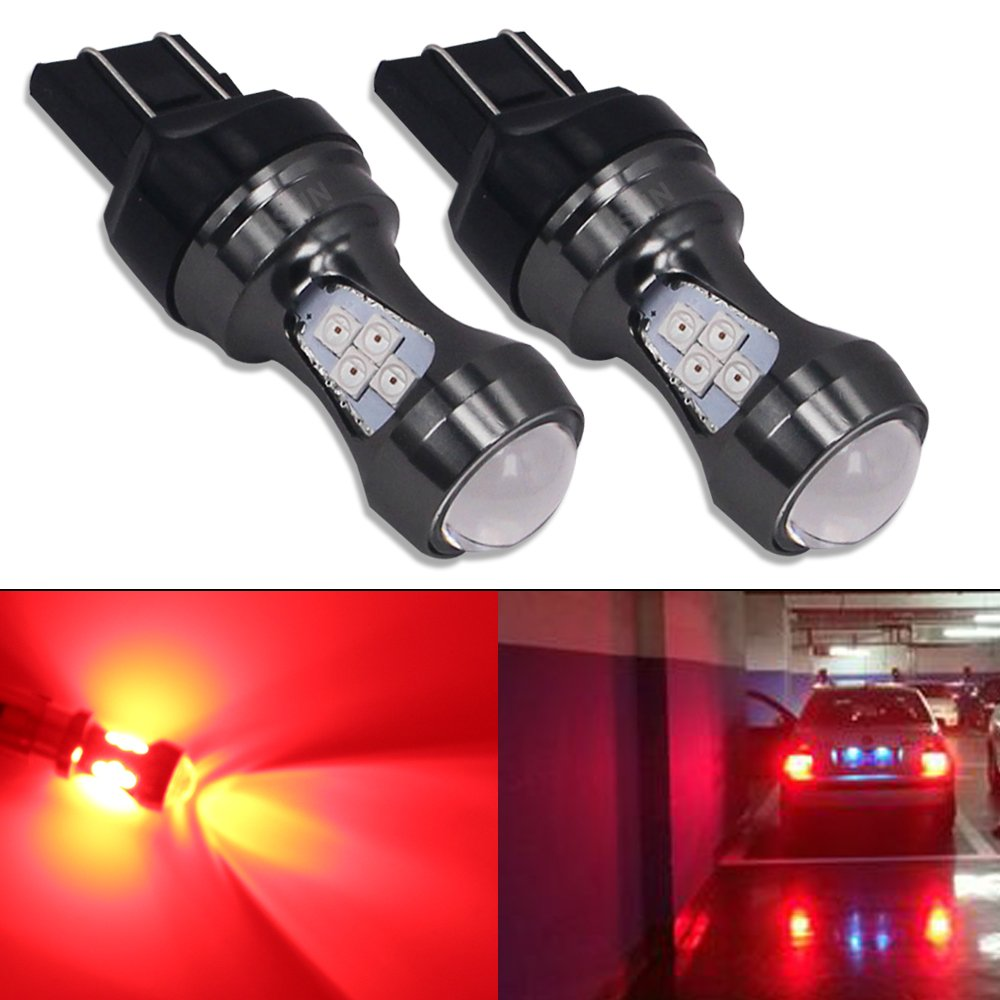 HSUN 7443 W21/5W T20 LED Light Bulbs,16 Pieces LED SMD3030 Chipsets 3200LM Extremely Bright Bulbs For Car LED Brake Light, Stop Light and More,2 Pack,Red