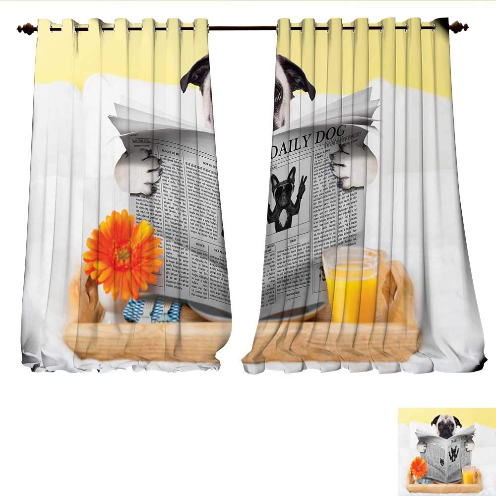 WilliamsDecor Room Darkening Wide Curtains Pug Reading Daily Dog Breakfast in Bed Sunday Family Fun Comedic Image Customized Curtains W72 x L96 Pale Brown Yellow Orange