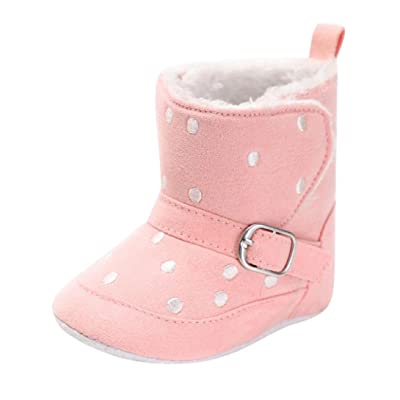 Voberry Baby Girl Boy Soft Spot Print Boots Snow Boots Infant Warm Crib Shoes Toddler Cotton Buckle Boots
