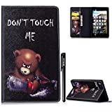 BtDuck Compatible with All-New Amazon Fire 7 2017 7'th Leather Wallet Case Chainsaw Killer Punk Bear Caveat Stand Tablet Shell Protector Painted Flip Folio Shockproof Slim-fit Case Magnetic Closure