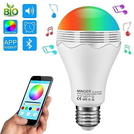Bombilla LED Bluetooth Altavoz, Minger Altavoz Música LED E27, Bombilla de luz RGBW Colores