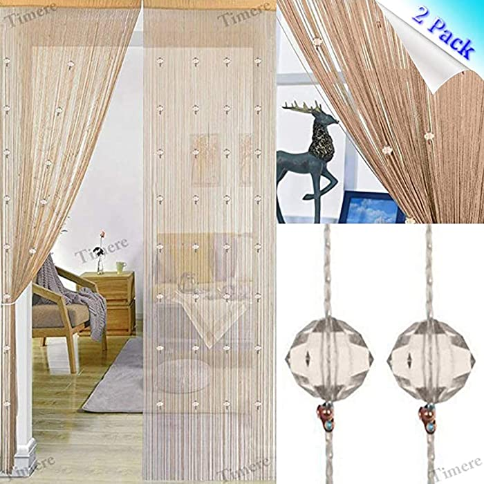 Timere Crystal Beaded Curtain Tassel Curtain - Partition Door Curtain Beaded String Curtain Door Screen Panel Home Decor Divider Crystal Tassel Screen 90x200cm (2 Pack, A-Champagne)