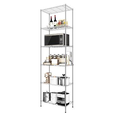 Buy Devo 6 Shelf Wire Shelving Unit Storage Adjustable Metal Storage Shelves Heavy Duty Steel Organizer Rack For Kitchen Garage Bathroom Laundry Stainless Side Hooks Silver 21 3lx11 4wx63 0h Online In Indonesia B08gkhdzfg