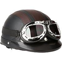 KKmoon Motorfiets Open Face Half Lederen helm MTA vizier UV beschermbril Retro Vintage Style 54–60cm, bruin