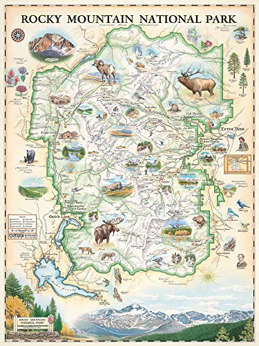 Rocky Mountain National Park Map Wall Art Poster - Authentic Hand Drawn Maps in Old World, Antique Style - Art Deco - Lithographic Print