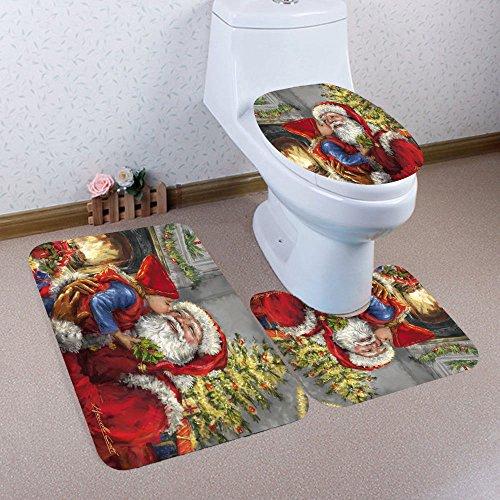 - Tuscom 3PC/Set Christmas Series Decoration Mat Toilet mat|Pedestal Rug Lid Toilet Cover Bath Mat| (2 Colors) (A)