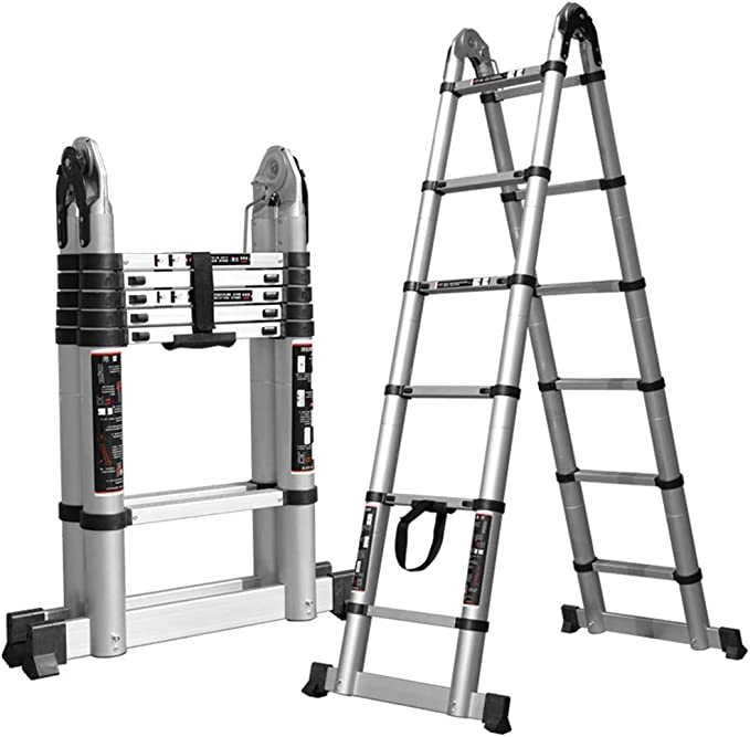 PENGFEI Escalera Telescópica Plegable Escalera Recta Deformable Aleación De Aluminio, Bajo Techo, En Exteriores, 4 Tallas (Tamaño : 3.2M(1.6M+1.6M)): Amazon.es: Hogar