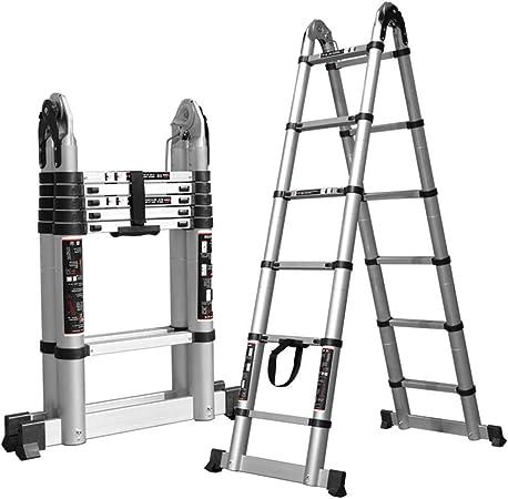WXQ Las escaleras telescópicas Plegable Escalera Recta deformable de Aluminio de aleación, Interior/Exterior, 4 tamaños (Color : 4.4M(2.2M+2.2M), Size : 4.4M(2.2M+2.2M)): Amazon.es: Hogar