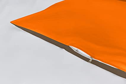 Lucena Cantos - Funda de cojín Bicolor, (Naranja/Choco, 2 Fundas de Cojín 50x70)