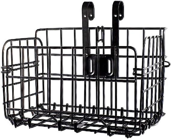 Fold-Up Bike Basket Wire Mesh Bicycle Front Handlebar Storage Rear Hanging Black