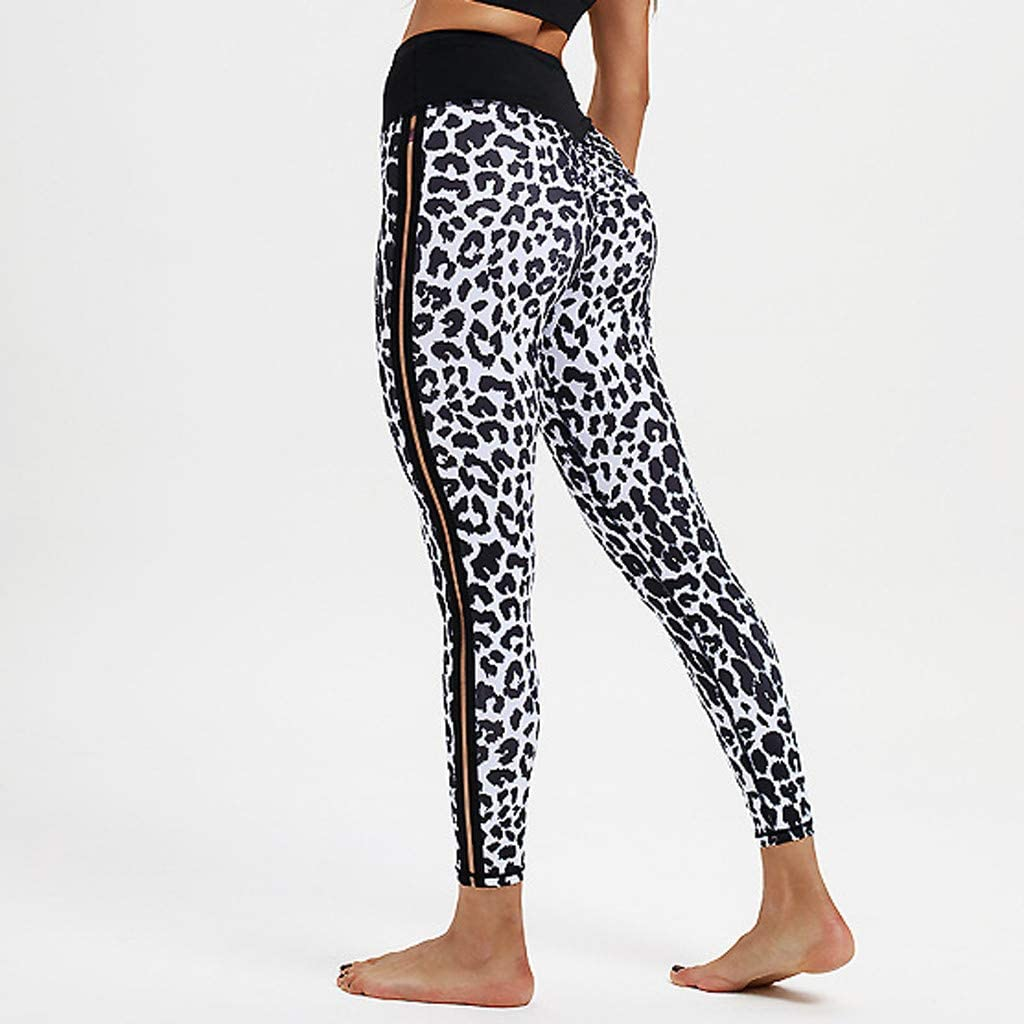 Transser Womens Mid-Waisted Leggings Leopard Print Full Length Slim Soft Stretch Sports Workout Fitness Yoga Pants