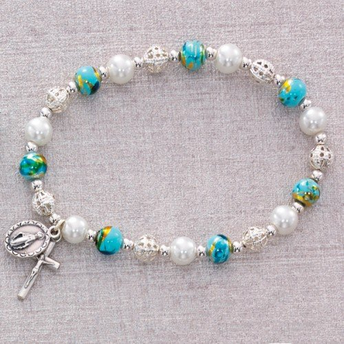 BR336C AQUA MURANO STRETCH BRACELET 6MM IMMITATION MURANO BEADS WHITE GLASS PEARL BEADS SILVER OX CRUCIFIX AND MIRACULOUS MEDAL-CARDED (Aqua Bracelets Murano)