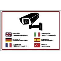 Panneau «Attention vidéosurveillance» en plusieurs langues en mousse