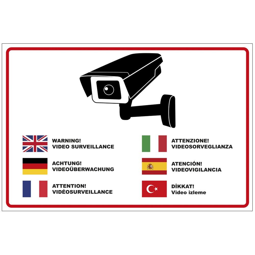 'Plaque 'Attention Surveillance vidé o en plusieurs langues en aluminium/Dibond 300 x 200 mm –  3 mm d'é paisseur geschenke-fabrik