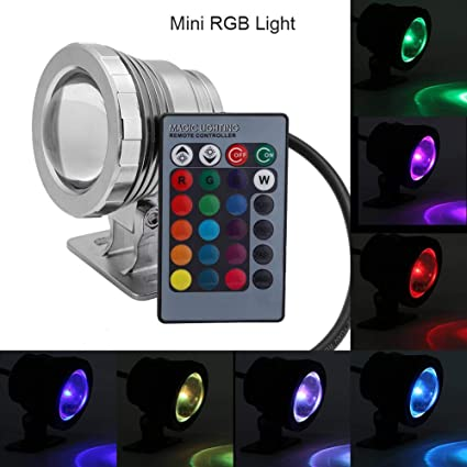 AC85-265V 10W RGB LED Underwater Light Submersible Lamp with Remote Control N7C2