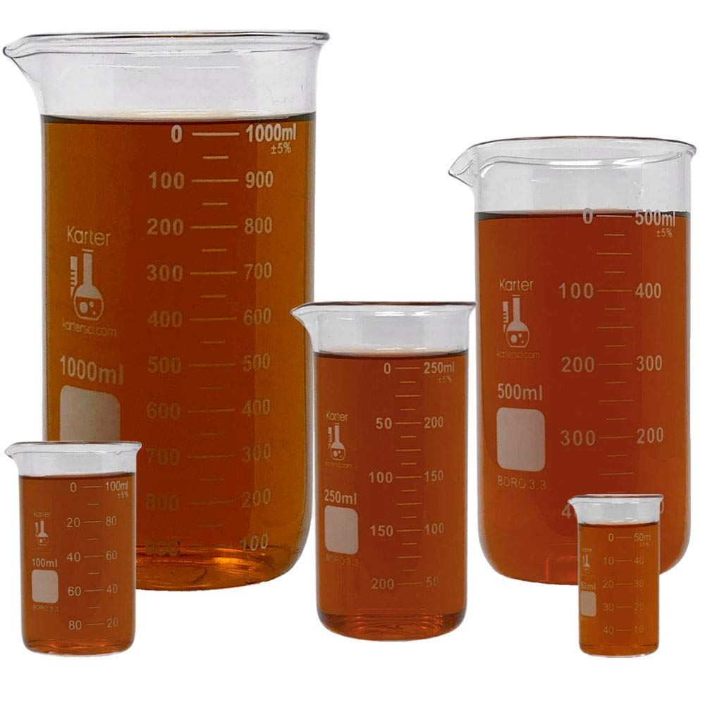 Glass Tall Form Beaker Set, 5 Sizes - 50, 100, 250, 500, and 1L, 3.3 Borosilicate Glass, Double Scale, Graduated, Karter Scientific