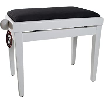 Tiger Adjustable Piano Stool Bench   Classic High Gloss White
