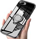 iPhone7 plus ケース/ iPhone8 plus ケース クリアリング 透明 耐衝撃 全面保護 磁気カーマウントホルダー スタンド 柔らかい殻 ケース 車載ホルダー対応 薄型 軽量 充電対応 TPU 滑り防止 黄変防止 簡潔なファッション 高級なカーボン風