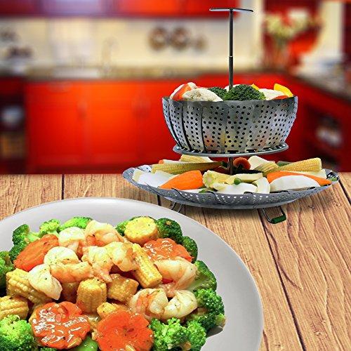 UNIQUE Vegetable Basket EXTENDABLE - Fits Pressure 6 & 8 100% Stainless Steel - BONUS eBook + Peeler | For Instapot Rack