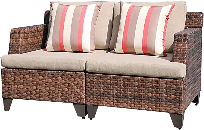 Amazon Com Sunsitt Outdoor Wicker Loveseat Patio Furniture With Beige Cushions Sofa Cover 2 Throw Pillows Included Brown Pe Wicker Garden Outdoor