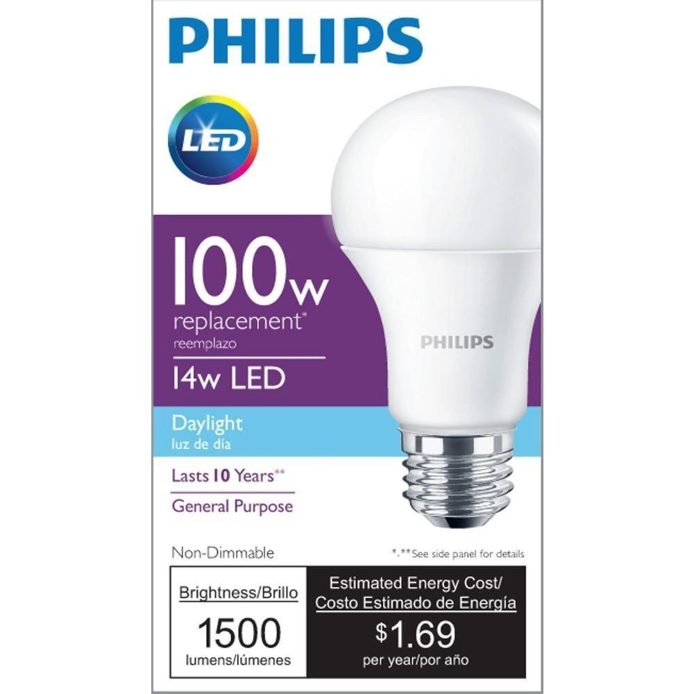 Philips led non dimmable a19 frosted light bulb 1500 lumen 5000 philips led non dimmable a19 frosted light bulb 1500 lumen 5000 kelvin 14 watt 100 watt equivalent e26 base daylight 4 pack amazon parisarafo Gallery