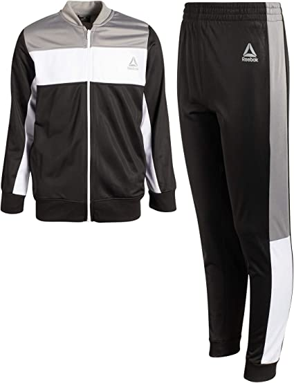 Reebok Boys 2-Piece Athletic Tricot Tracksuit Set with Zip Up Jacket and Jog Pants