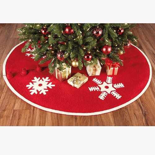 Arcadia Home Snowflakes Christmas Tree Skirt by Arcadia Home (Image #2)