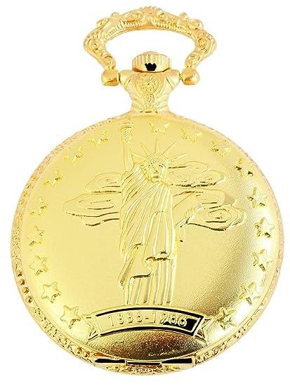 Reloj de bolsillo Blanco Dorado Estatua de la libertad New York USA Analógica Metal Cuarzo