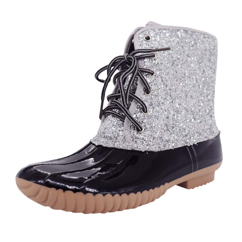 Huaze Women Boots Fashion Round Toe Sparkling Glitter Lace-up Bootie Casual Waterproof Ankle Bootie Shoes US4.5-11.5 (Black, US:11) by Huaze