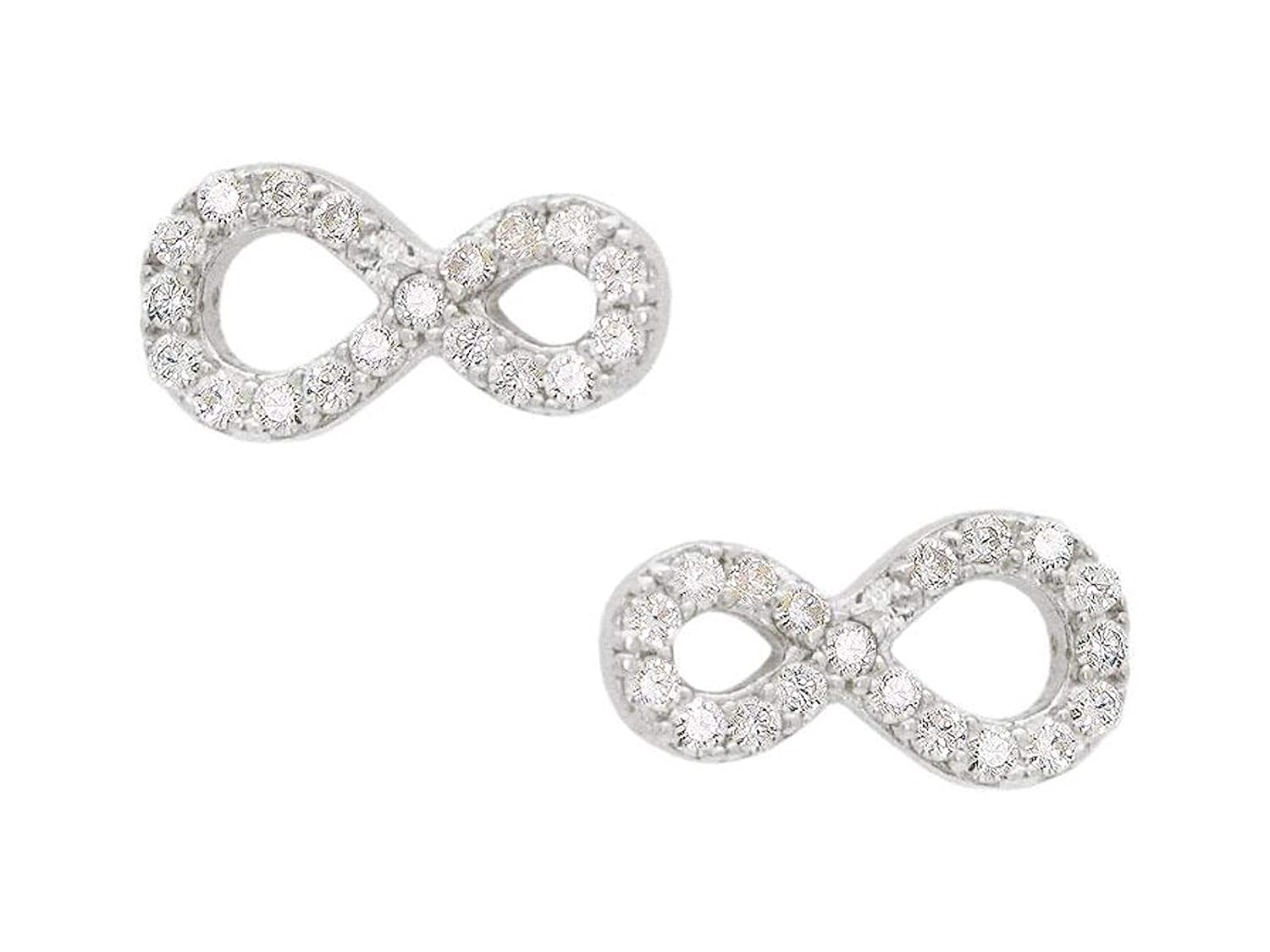 CZ Infinity Stud Earrings FRONAY Sterling Silver Simulated Diamonds