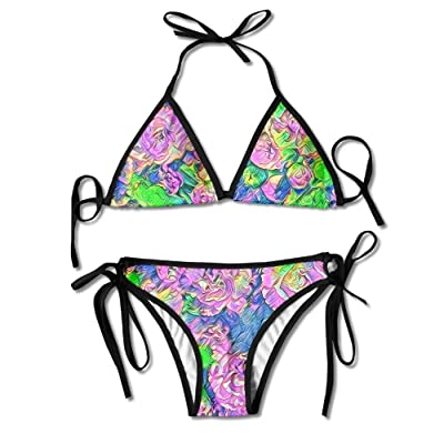 Abstract Flowers Bikini Halter Swimsuit Strappy Bralette Triangle Bathing Suits