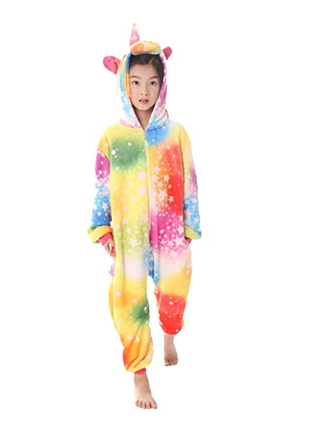 24bc29aa1 UMIPUBO Kids Unicorn Onesie Pajamas Flannel Animal Costumes Cosplay  Halloween Cartoon Onesies Sleepwear Jumpsuit: Amazon.co.uk: Clothing