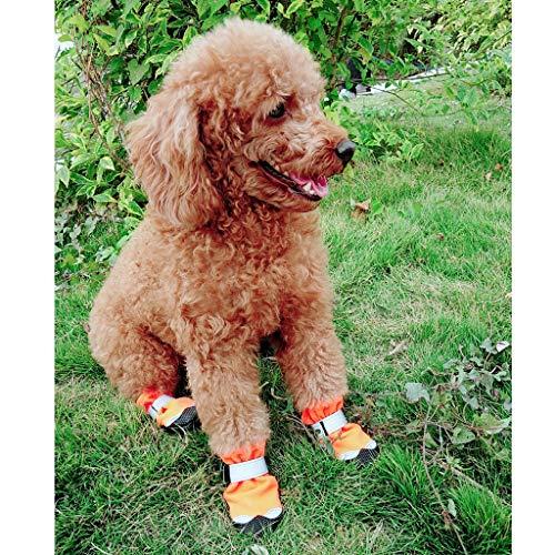 Perros Naranja m Ecológico Antideslizantes Blesiya Brillante Rojo 4 Duradero Pcs Complimentos Botas Mascota Zapatos m B Color De XaqTC