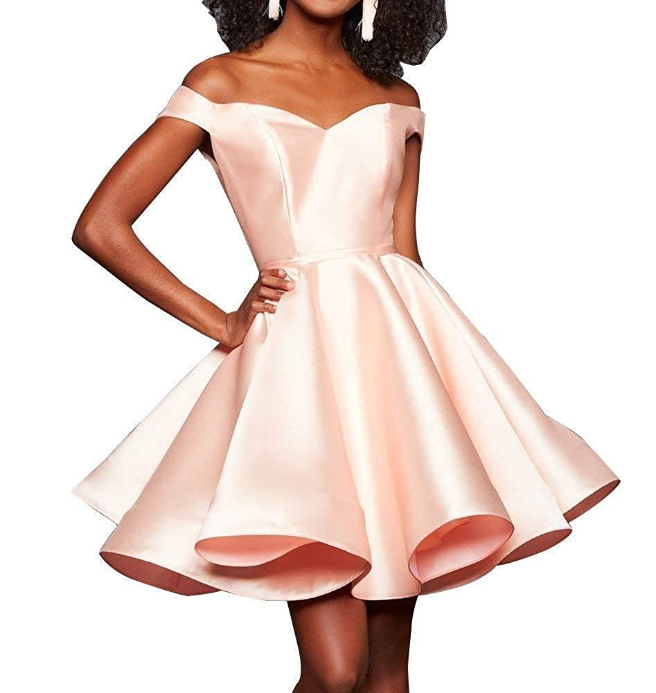 bluesh TTdamai Off The Shoulder Satin Homecoming Dress Short Prom Party Gowns