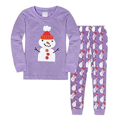AmzBarley Christmas Pyjamas Girls Kids Long Sleeves PJS Xmas Costumes for  Children Pajamas Snowman Sleepwear Outfit dcae8100a