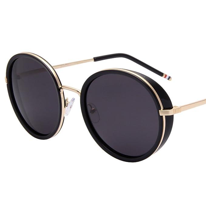 37230e9fa58 Jardin D amour Round Vintage Mirror Lenses UV Protection Polarized Unisex  Sunglasses JA6067 BLACK