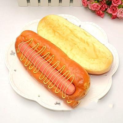 Alimentos de simulación de imitación Pan de perro caliente grande Modelo de ventana de alimentos Modelo Cámara Accesorios de cámara Juguetes Figuras Miniaturas Exhibición de adornos, gris claro, 20 cm: Hogar