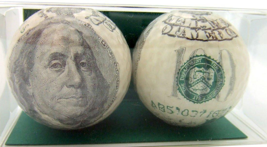 Westman Works Golf Ball Gift Pack Set of 2 One Hundred Dollar Bills Benjamin Franklin