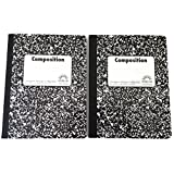 Double Pack Black and White Abstract 100 Sheet / 200 Page Composition Books (Wide Ruled)