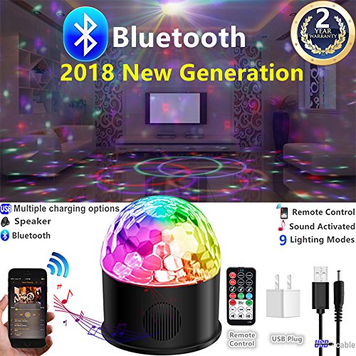 Party Lights Disco Strobe Ball 2018 New Generation Sound Activated Rotating with USB Charging Bluetooth Speaker Machine Remote Control 9 Colors Lighting for DJ birthday Dancing Wedding