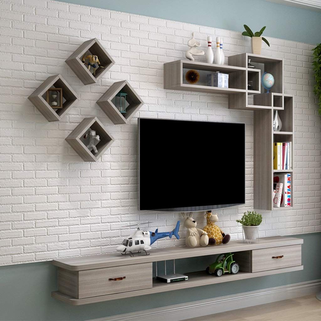 Floating Shelf Floating Shelf Wall-Mounted TV Cabinet Wall Background Storage Shelf Media Console Floating TV Shelf TV Stand with Drawer for DVD Satellite TV Box Cable Box by SjYsXm-Floating shelf